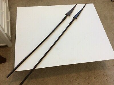Interesting Old Antique Pair Of Tribal Unknown Spear Amazon Oceanic No Sword