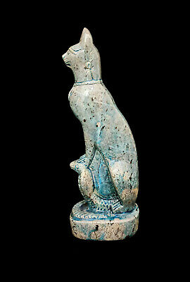 Glazed Hieroglyphic Statuette Bastet Egypt Antique Cat Faience Bast Hold Copra