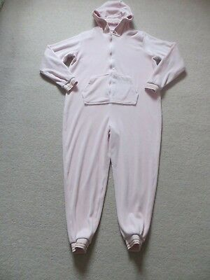 Girls Pink Velour Bedtime Hooded Onepiece Age 13yrs