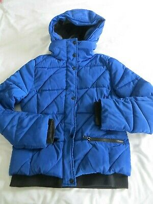 Girls New Look 915 Generation Blue Padded Quilted Hooded Coat Jacket Age 14-15