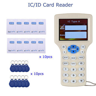 "Smart IC/ID Card Reader RFID Door Card Encrypted 3"" 500KHz 9Frequency Duplicator"