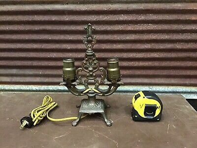 LOVELY Antique Vintage Cast Iron Very Ornate Desk TABLE LAMP Art Deco-MARKED -c5