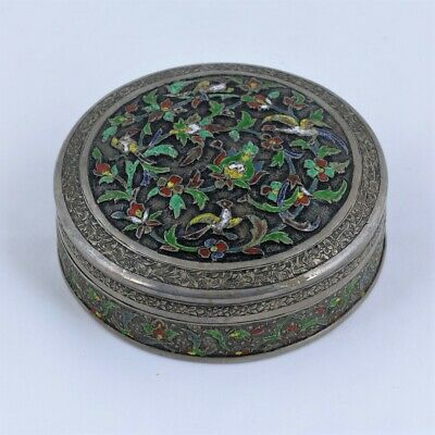 Antique Straits Chinese silver enamel tobacco box