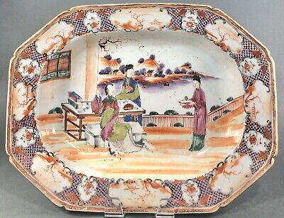 Rare Chinese Export Famille Rose Porcelain Platter with Figures 18th C 14.5""