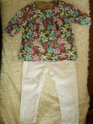 Lovely girls outfit top 3/4 sleeves and white denim trousers Age 3-4 years Fab!!
