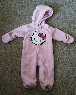 Hooded Pink HELLO KITTY Furry Fleece Snowsuit Girls Size 12 months