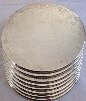 Set X 8 STRACHAN SilverPlated Vintage Round 20.5cm Placemats With Felt Backing