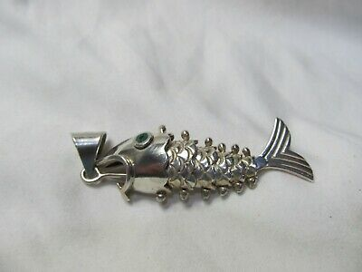 Vintage Large Sterling Silver Articulated Fish Pendant MEXICO 925 HEAVY 35 GRAMS