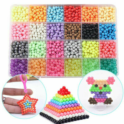 3200-6000 x Kids Child Super Refill Aqua Water Fuse Beads 24 Colors Packing Gift