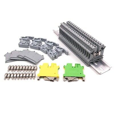 Din Rail Terminal Blocks Kit,Uk5N Terminal +Ground Blocks+Aluminum Rail+D-U I9I3