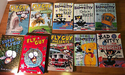 Lot Of 10- Bad Kitty & Fly Guy- Nick Bruel & Tedd Arnold
