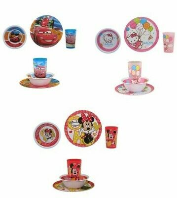 Selection Children Dinnerware 3 Pieces Minnie Mouse, Cars or Hello Kitty