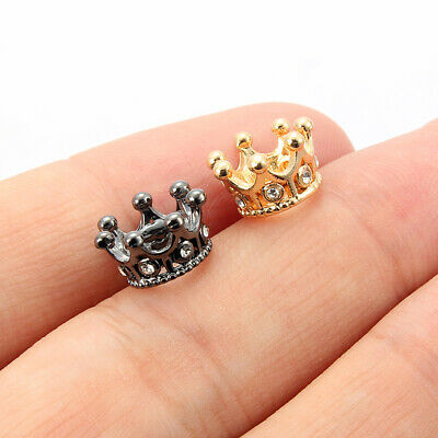 10Pcs Crystal Crown Charm Spacer Beads Accessories DIY Bracelet Jewelry Making