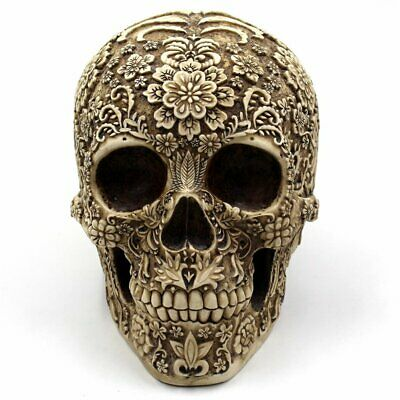 Creative Tuft Flower Skull Decoration Halloween Resin Skull Bar Decoration @Q