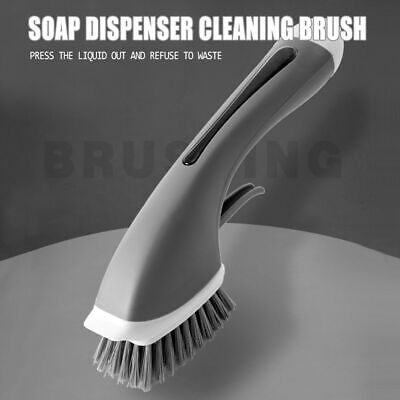 Scrubber Liquid Cleaning Brush Dish Kitchen Washing With Refill Soap Dispenser