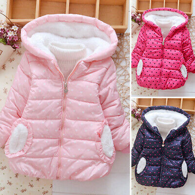 Kids Girls Winter Warm Overcoat Hooded Jacket Padded Quilted Coat Cotton Outwear