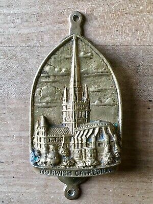Vintage Brass Door Knocker Small Norwich Cathedral Cast Brass Antique