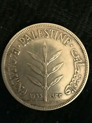 1933 100 Mils Palestine Silver Coin  Xf-    Mb49