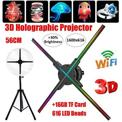 56cm 3D WiFi Hologram Projector LED Fan Holographic Advertising Machine 16GB TF