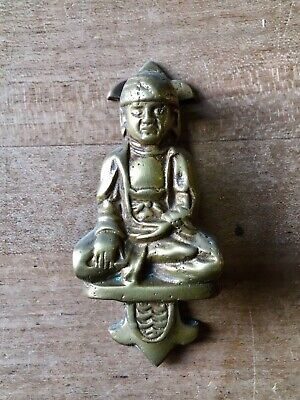 Vintage Brass Door Knocker Small Buddha Figure Cast Brass Antique