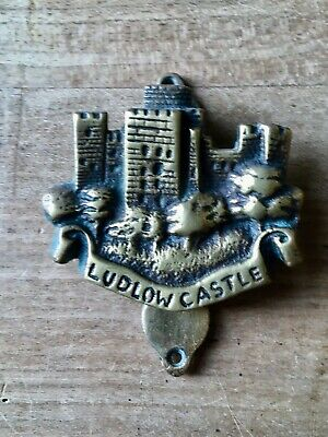 Vintage Brass Door Knocker Small Ludlow Castle Cast Brass Antique
