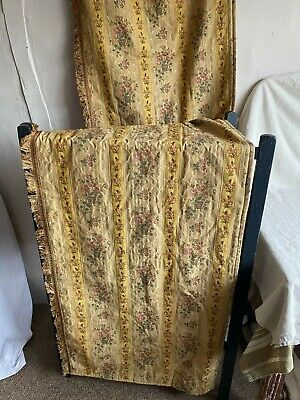 Vintage Curtain Panel Yellow Golden Cotton Brocade Textile Pink Floral Pattern