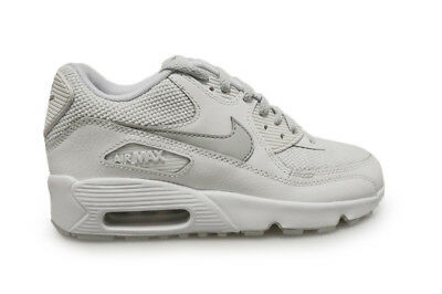 Details about Junior Nike Air Max 90 Mesh (GS) Trainers Wolf GreyBlackWhite 833418 027