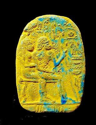 Rare Plaque Stela Wall Art Egyptian Antique Amarna Art Scene W/T Hieroglyphics