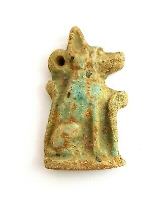 Anubis Chain Ancient Egypt Antiques Jakal Amulet Hieroglyphic Faience Necklace