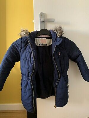 Joules Girls winter padded coat. Navy blue with faux fur hood. age 6.