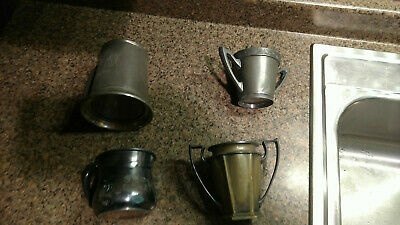 Vintage Silver Cups Mini Pitchers Pewter Lot of 4 Antique Various
