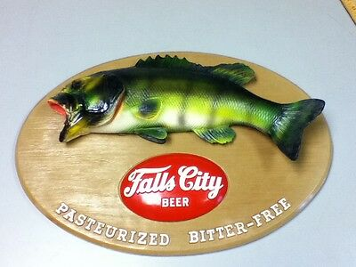Falls City beer sign fish fishing chalkware wall plaque vintage chalk statue old