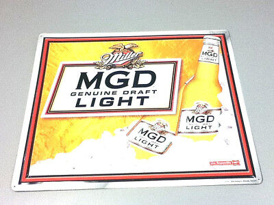 Miller beer sign Genuine Draft  Light metal tin tacker brewery bar vintage  HF6