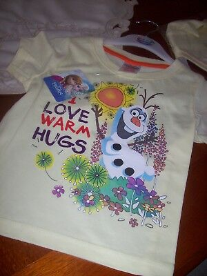 New With Tags Girls Disney T-Shirt Aged 2 - 3 Years Frozen Olaf
