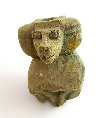 Baboon Monkey Faience Egyptian Antiquities Amulet Ornament Statuette Carved Babi