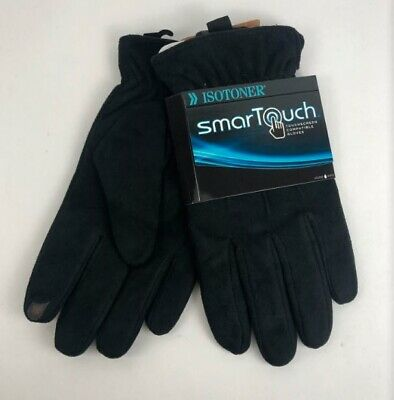 Isotoner Men's Ultra Suede Microfiber Smartouch Gloves, Black, Size Medium - $50