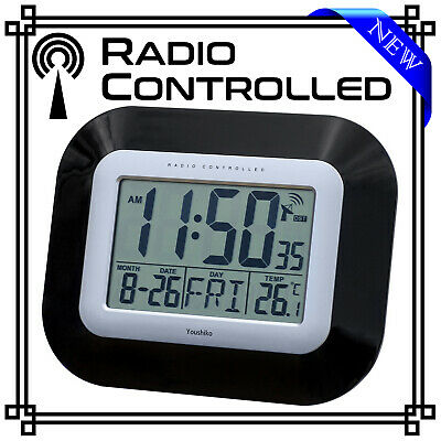 Precision Black Radio Controlled Wall Clock Ap034 Digital Lcd - New
