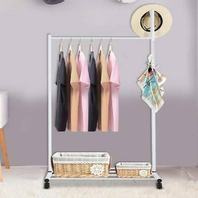 Rolling Clothes Rail Garment Hanging Display Stand Shoe Rack Storage Shelf Hook