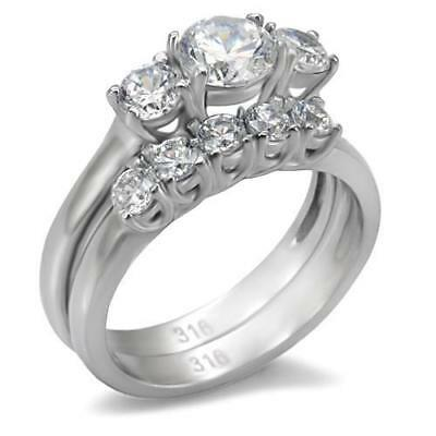 Wedding engagement ring set cz cubic zirconia stainless steel band silver 098