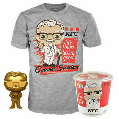 Funko Pop! Ad Icons: KFC - Gold Colonel Sanders + Pop! Tee Sz 2XL In Hand!!