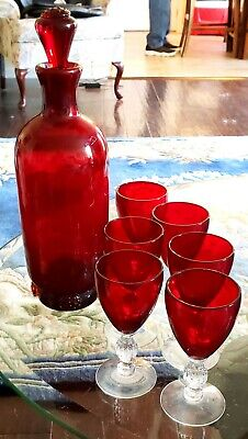 Antique Hand Blown Deep Ruby Red Wine Decanter With 6 Ruby & Crystal Ball Stems