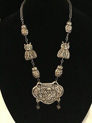 Antique Vintage Chinese Tibetan Large Repousse Relief Necklace Must See No Res