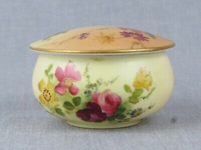 Antique Royal Worcester Blush Ivory Dressing Table Pot And Cover - Date 1910