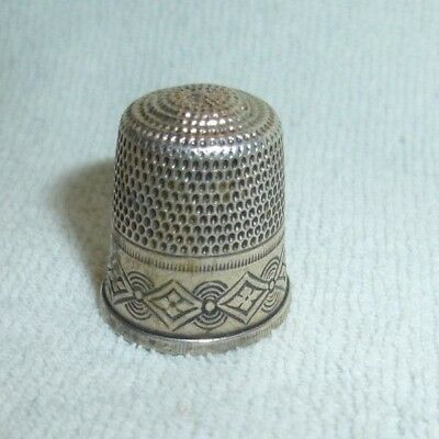 Antique Simons Brothers Sterling Silver Thimble Size 9 Geometric Art Deco