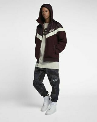 Nike Sportswear NSW Sherpa Windrunner Jacket Men's Burgundy Red S M L XL