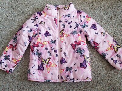 H&M Pink Butterfly Print Quilted Jacket Girls Size 3-4