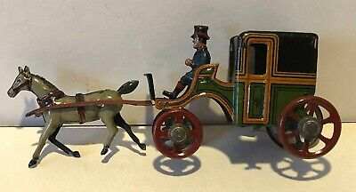 ANTIQUE PENNY TOY GERMAN TIN LITHO EARLY 20th c. HORSE-DRAWN CARRIAGE w/ DRIVER