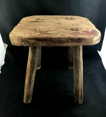 🔷 Antique Early 19th Century Hand Crafted Wooden Folk Art Milking Stool
