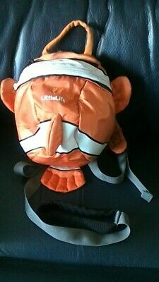 "Little Life Orange ""Nemo"" Fish Back Pack + Rein + Hood"