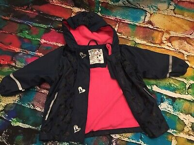 x2 Lupilu waterpoof girls jacket fleece lined Navy Pink 12-24 Months 86/92 TWINS